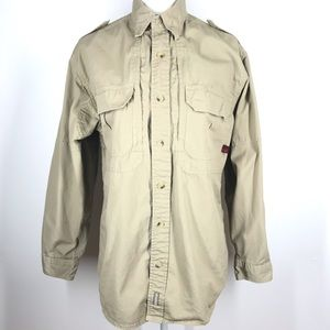 Woolrich Outdoor Button Up Shirt Vented Khaki S
